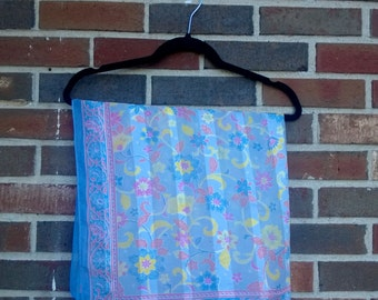 Bright Cheerful Blue, Pink, Yellow Square Scarf