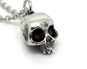 Small Skull Charm Necklace, Handmade Human Head Pendant in Pewter