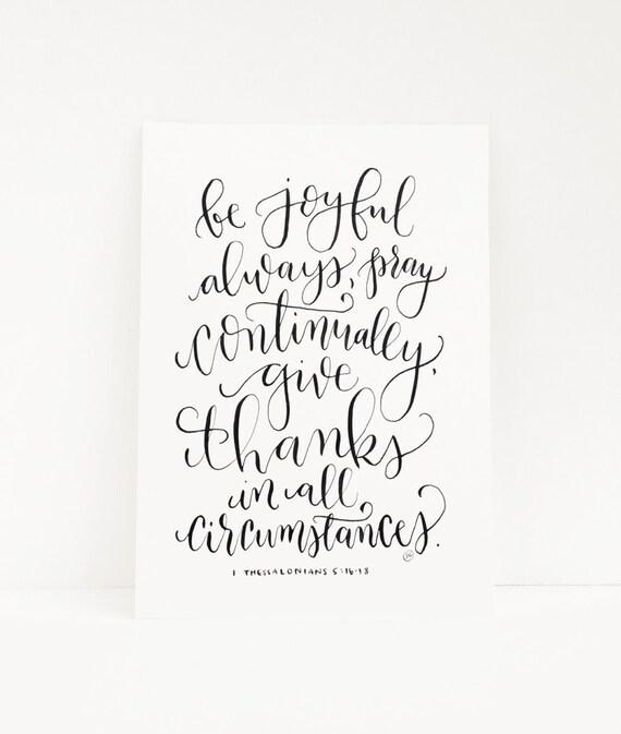 Hand Lettered Original 5x7 Calligraphy Verse Be Joyful