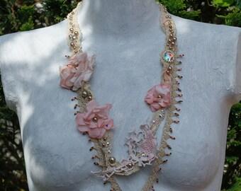 Multistrand bohemian necklace, shabby chic necklace, bohemian tattered long necklace, antique lace necklace, Fiber art necklace, OOAK