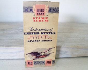 Vintage United States War Savings Bond Stamp Album Booklet 10 Cent Stamps 25 Dollar Savings Bond Unused 1942
