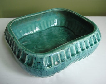 "Vintage RRP Co. Art Pottery Planter - Robinson-Ransbottom No. 413-8"" - Roseville Ohio - Turquoise - HTF"