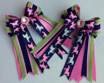Pony Horse Show Bows/Pink Sparkle Gem