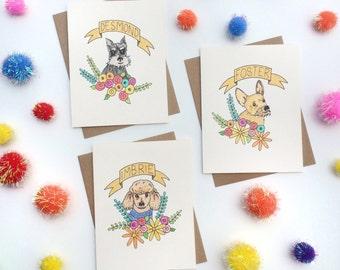 Custom Pet Portrait Card.