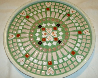 Vintage Mosiac Tile Table Top Lazy Susan w Hearts