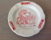 Ashtray advertising Lotto sign Lion Barbarossa / porcelain DESHOULIERES Chauvigny France