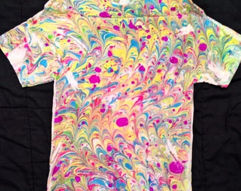Laurenge Psychedelic Marbled Shirt size Large