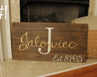 Last Name Monogram Wooden Sign with Established Date