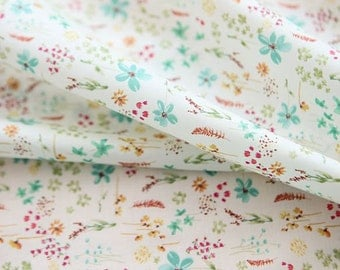 """Lawn Fabric - Floral Pattern Lawn Fabric """"Garden of Verona"""" Mint Color by Half Yard - 55"""" Width"""