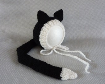 Baby knit cat bonnet and tail, knitted hat, unique and cute hat for newborn or sitter, photo prop