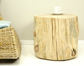 10% Off Brown Tree Trunk, Tree Stump Side Table, baumstamm, braun Stumpf, hocker holz ceppo di legno
