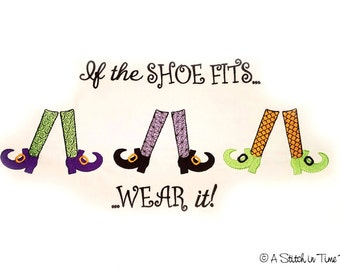 If the Shoe Fits Witch Legs Set - Machine Embroidery File Instant Download