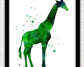 Giraffe print, green giraffe print, emerald green giraffe art print, giraffe watercolor print, giraffe silhouette, giraffe painting print,