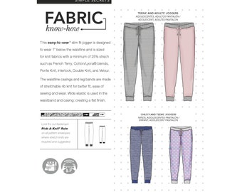 Simplicity Sewing Pattern 8268 Child's, Teens' and Adults' Slim Fit Knit Jogger Pants