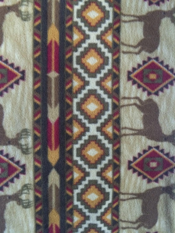 fabric by the 1 2 yard native american buck anti pill fleece. Black Bedroom Furniture Sets. Home Design Ideas