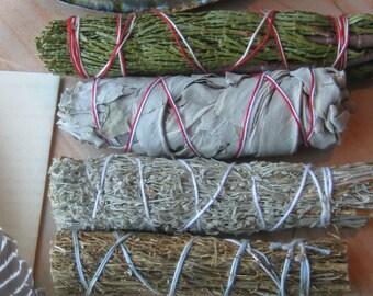 "CLEANSE-4 Sage Bundle Pack-CA White Sage, Desert, Blue Sages, Cedar (4-5"" Sml) +Agate Arrowhead, Native Altar, Blessing, Smudge Instructions"