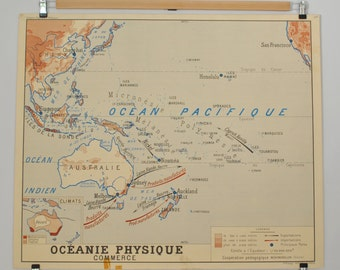 Old maps of geography double sided - Oceania political and physical - school poster of French school of the 1950/60s