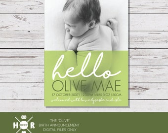 Printable - The 'Olive' Birth Announcement