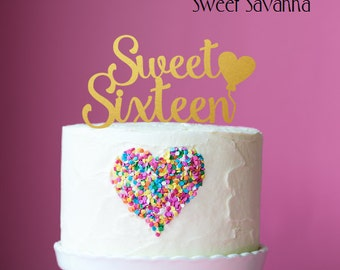Sweet 16 Cake Topper - Birthday Cake Topper
