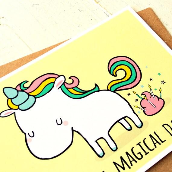 Unicorn Card Funny Birthday Card Unicorn By FinchandtheFallow