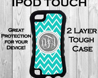 Monogram iPod 6 iPod 5 Touch 2 Layer Tough Case Personalized iPod Case Blue and White Chevron Monogrammed 2 Layer Protective iPod Case #2382