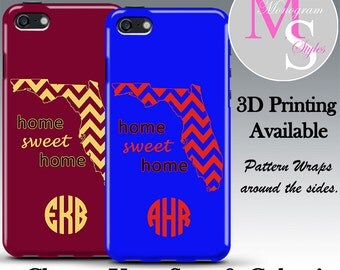 Monogram iPhone 7 Personalized Case State/School Pride Monogrammed iPhone 6, 6s Plus Personalized Iphone 4, 4S, 5, 5C, 5S Tough Case #2573