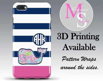Monogram Personalized iPhone 6 Case Navy Stripe Monogrammed iPhone 4 Personalized Iphone 4S, Iphone 5C, iPhone 5S, iPhone 5 Tough Case #2608