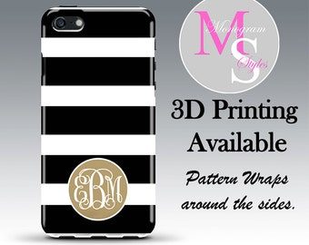 Monogram iPhone 7 Case Black & White Striped Monogrammed iPhone 4 4S Personalized Iphone 5, 5S, 5C, iPhone 6 iPhone 6 Plus Tough Case #2586