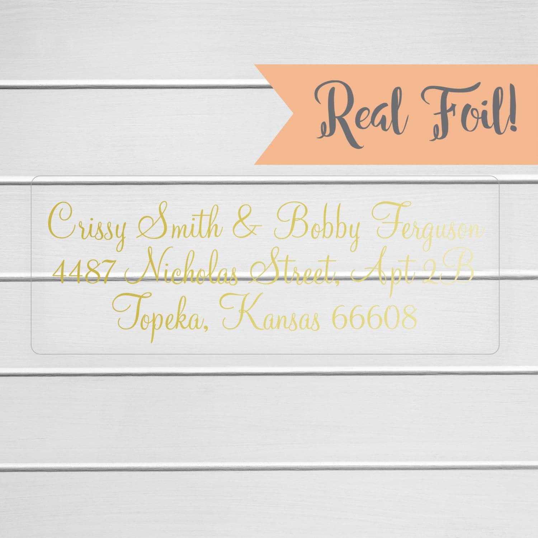 Gold Or Color Foil Wedding Invitation Return Address Labels