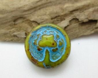 Czech Glass Tree Bead, Glass Coin Bead, Blue Amber glass bead, Rustic Tree Bead, Folk Tree Bead, 14mm (6)
