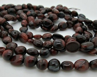 """Red Tiger Eye Nugget Beads, 8 to 10mm, 16"""" Strand"""