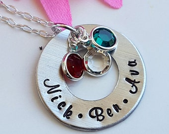 Hand Stamped Personalized Name Necklace with Swarovski Birthstones Childs Name Necklace for Mom Childrens Names