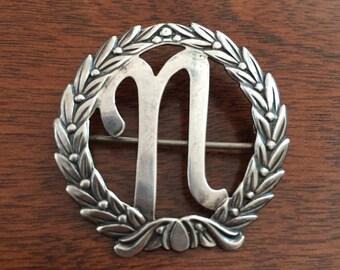 Vintage Monogram Initial N Pin, Sterling Silver Initial N Pin, Sterling Silver Initial Pin, Sterling Silver Initial N Wreath Pin