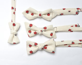 Dad and Son Bow Ties in Ladybird. Ladybugs Matching Father and Son Bow Ties.