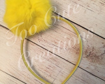Yellow Fur Pom Pom Headband, Hair Accessory