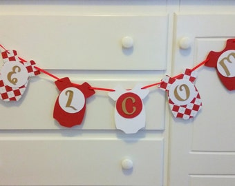 Welcome Baby Onesie Christmas Banner, Baby Shower Banner, New Baby Announcement Banner