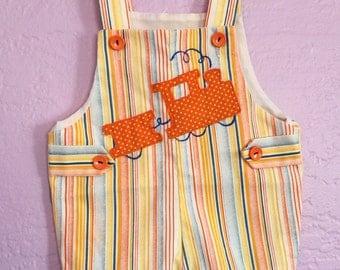 Vintage Train Shortalls. Vintage Train Romper. Orange Striped Train Overalls. Orange Baby Romper. Vintage Blue & Orange Striped Romper.