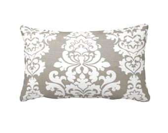 Taupe Throw Pillow Cover, Taupe Pillow Cover.  Brown Pillows,  Damask Pillows.  Taupe Lumbar Pillow,  Decorative Pillows. Taupe Pillow Shams
