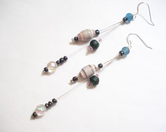 Paper Beads Long Modern Earrings  Eco Friendly Recycled Earrings  Unique Handmade Earrings Sterling Silver Hooks