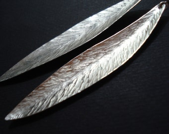 Hammered Silver Long Leaf Earrings Unique Modern Sterling Silver  Olive Leaves Earrings