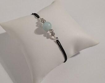 Adjustable bracelet, amazonite/labradorite, black silk cord