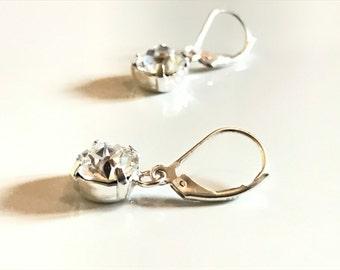Earrings sleepers Silver 925 rhinestone shiny Crystal swarovski crystal Silver 925