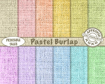 40% SALE Burlap Digital Paper, Natural Linen Texture Background, Spring Soft Pastels yellow pink summer green blue purple turquoise, Rainbow