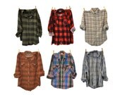 Grunge Flannel shirt 90s oversized shirt long sleeve plaid / indie hipster shirt 90s / casual small medium large XL