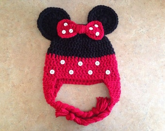 RED Minnie Mouse Crochet Hat with Ear Flaps Made to Order newborn, toddler, child, adult halloween costume
