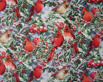 Red Cardinals & Holly Cotton Fabric Sold by the Yard