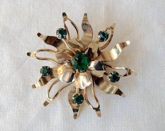 Beautiful vintage 1940 Golden And emerald Green glass sunflower  brooch