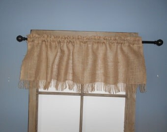 Country Valance Burlap  with Fringe  47X15