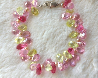 cluster gemstone bracelet, pink topaz, citrine, pink bracelet, elegant multi gemstone bracelet, bridal, organic, bridesmaid, gift for her