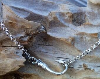Sideways Fish Hook Necklace